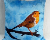 Pillow case Robin in blue 16x16 inch 40x40cm for throw pillow or accent pillow