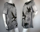 Silk A-line dress, tunic, top with black crows, jackdaws Size M/L ready to ship