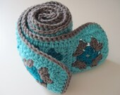 Granny Square Scarf Blue Turquoise Crochet