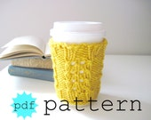 Knitting PATTERN, Coffee Cup Cozy Pattern, Coffee Sleeve Pattern, Tea Cozy Pattern, Mug Cozy Pattern, DIY, Yellow