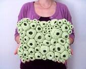 Textile Wall Art Hand Crocheted in Monochromatic Apple Green - Tide Pool
