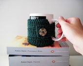 The English Major Coffee Mug Cozy Hand Crocheted in Forest Green