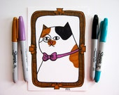 Cat Portrait Humorous Small Drawing