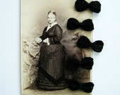 Miniature Bows Hand Crocheted in Deep Black for Decorations, Gift Wrap, and Embellishment