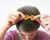 Mustard Yellow Bow Headband Crocheted with Hand Painted Yarn