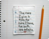 Embroidered Poetic Love Note with Notebook Paper Design - William Shakespeare - Eco Friendly Materials