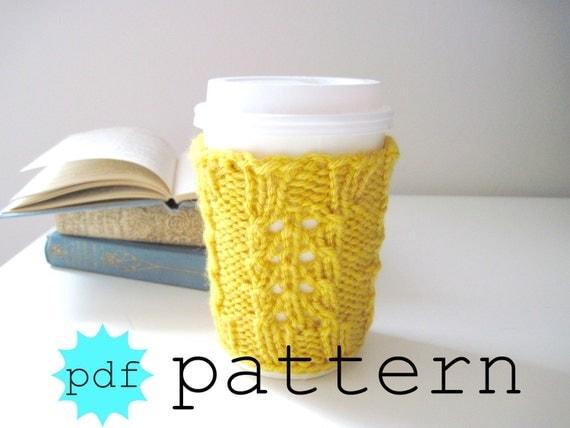 Knitting PATTERN, Coffee Cup Cozy Pattern, Coffee Sleeve Pattern, Tea Cozy Pattern, Mug Cozy Pattern, DIY, Yellow