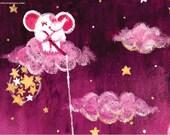Catching Stars - archival medium print - Rondy the Elephant collecting bright stars - Oksancia