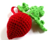 Play Food Rattle: Vegetable Garden Beet Rattle Toy  made with Washable Yarn - Handmade and Designed by The Silver Hook