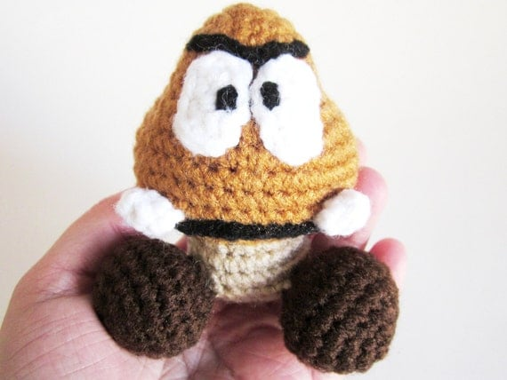Video Game Baby RATTLE: Goomba Inspired by Nintendo's Mario in Washable Yarn  - Handcrafted, Crocheted,  and Designed by The Silver Hook