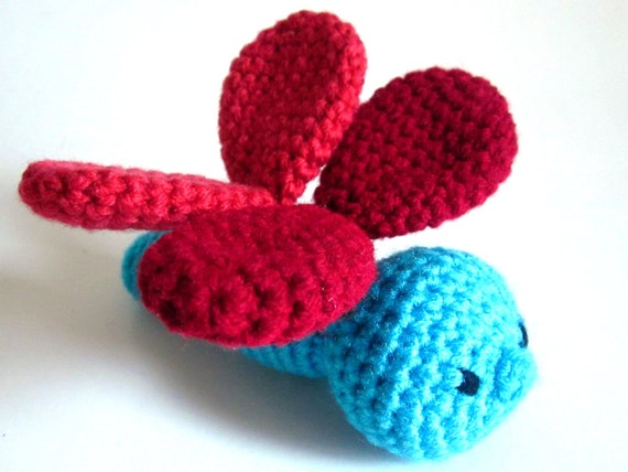Insect Amigurumi: Dragonfly Toy RATTLE Crocheted in Bright, Contrasting Reds and Blue Washable Yarn - Crocheted, Designed by The Silver Hook
