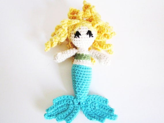 Fantasy Doll: Light Skin, Blond Curly Hair Mermaid Amigurumi RATTLE in Blue and Green Washable Yarn - Crocheted, Designed by The Silver Hook