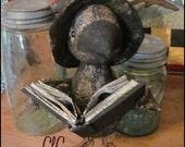 Primitive Halloween Witch Crow Bird Spell Book