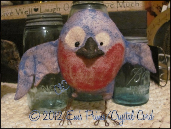 Primitive Country Decor Kookey Blue bird folk art