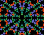 Blue Green Red Turquoise Leaf Kaleidoscope (k3)--Digitally Altered Fine Art Photograph  8x10