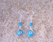 Sterling silver wire wrapped turquoise nugget earrings