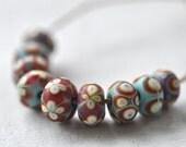 S A L E pinocean lampwork beads set (9) - Japanese temari  -