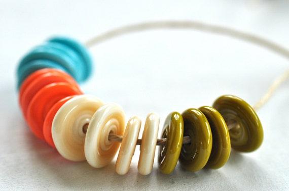 p i n o c e a n handmade lampwork small disc beads set ( 16 )