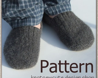Felted Men's Slip-ons - Crochet Pattern (PDF) - INSTANT DOWNLOAD