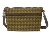 Marjorie Zippered Shoulder Bag Check Upholstery Fabric with Adjustable Strap