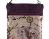 Gigi Velvet Upholstery and Embroidered Flowers Shoulder Bag  with Adjustable Strap