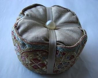 Silk and Vintage Ribbon Pincushion