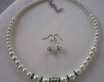 SALE Ivory White Graduated Pearl Neckace with Green Rhinestone Spacers and Earrings
