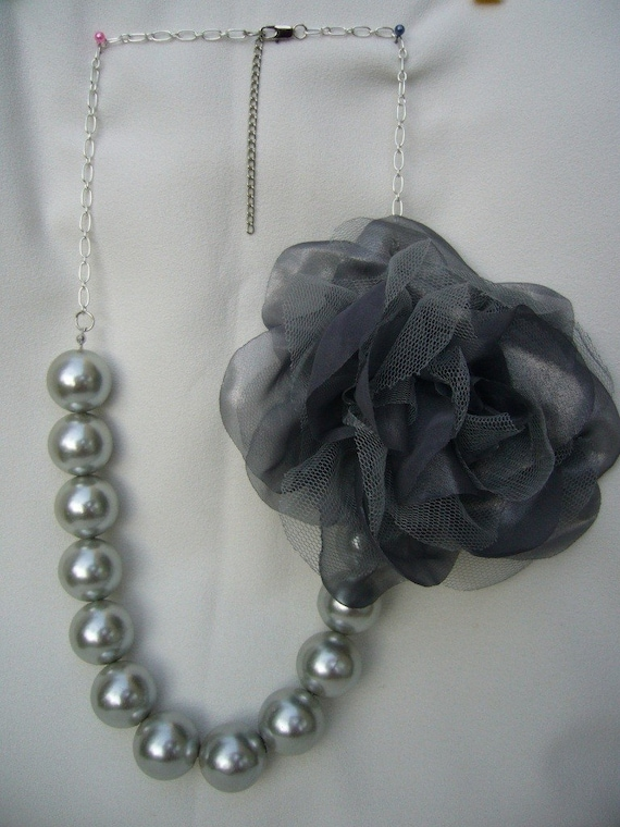 Oversize Silver Grey Pearls Necklace with Detachable Grey Fluffy Brooch
