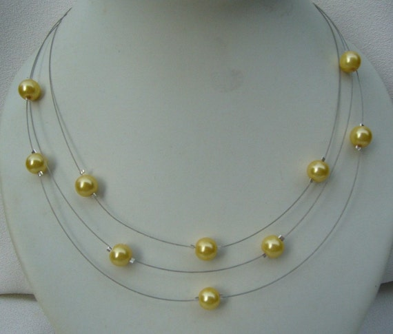 Three Stranded Lemon Yellow Pearl Necklace and Earrings Set