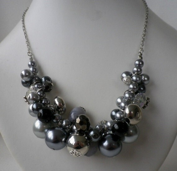 Grey Silver Charcoal and Pewter Cluster Necklace and Earrings