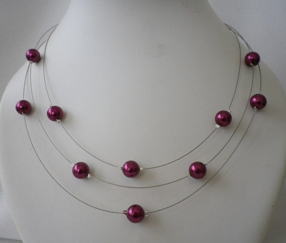 Reserved for Rachel Three Stranded Burgundy Wine Floating Pearls Necklace and Earrings Sets