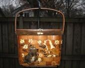 1960s basket purse / 60s basket handbag