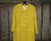 1960s coat / 60s yellow coat