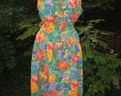1970s bright blooms dress / 70s floral sundress