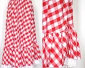 plus size gingham maxi skirt / xxl picnic check ruffle skirt