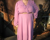 reserved...1970s plus size rose ruffled dress.