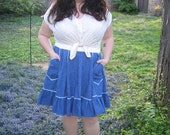 1960s plus size square dance skirt / 60s xxl chambray circle skirt