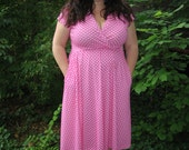 reserved...free shipping promotion...1980s plus size pink polka dot dress / 80s pink wrap dress xxl