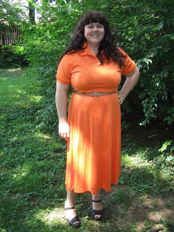 1980s plus size juicy orange dress / 80s xxl preppy dress