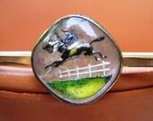 Jumping Jack Flash Reverse Painted Gold Filled Bar Pin