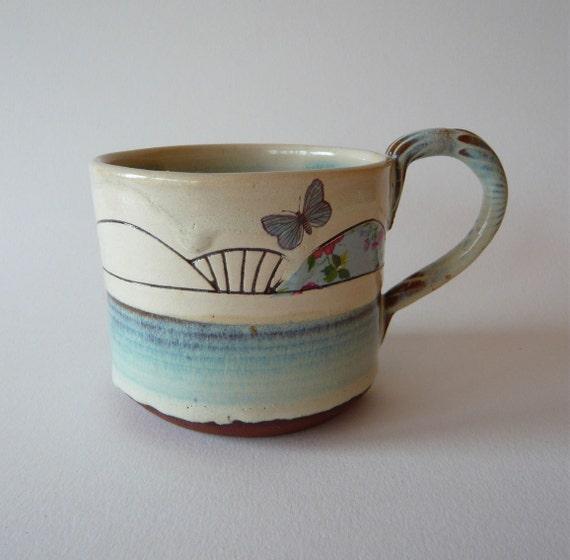 Sgraffito Butterfly Mug