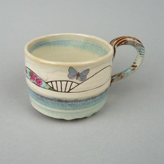 Large Sgraffito Blue Butterfly Mug