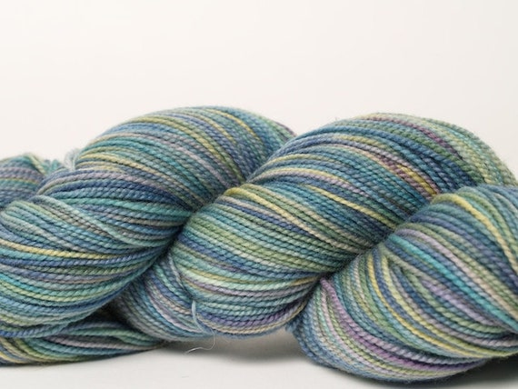 Hand Painted Blue Iris Sock Yarn