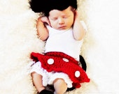 Mini Mouse outfit Costume NEWBORN size for pictures photography or photo prop: hat, shoes, skirt