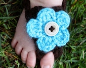 Bare Bottom Sandals for Infant Newborn & Toddler with INTERCHANGABLE flowers Barefoot shoes for baby