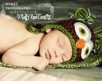 Infant Owl hat Brown Green Blue Perfect for baby gift or Photography Prop Newborn 3 6 9 or 12 months