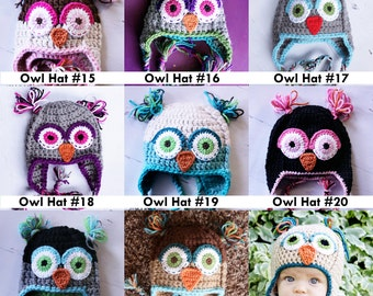 Customize your own Owl hat  Any Color Any Size Pick from my pics or Request your own color scheme