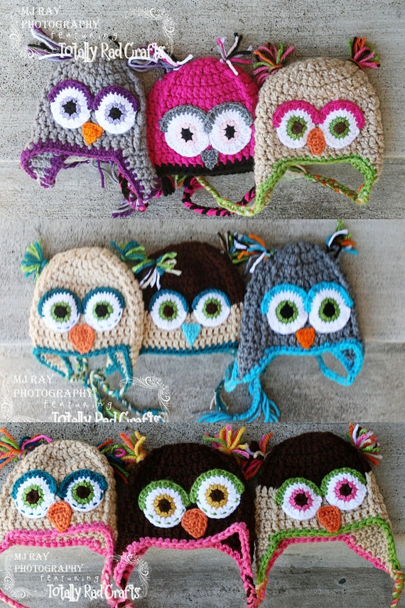 Customize your own Owl hat  Any color NEWBORN size for baby or Photography Prop