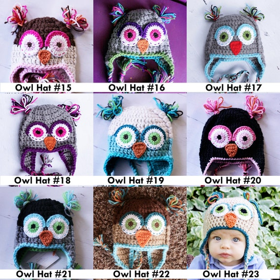 Your own owl hat any color any size pick from my pics or request your