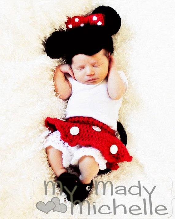 items similar to mini mouse outfit costume newborn size. Black Bedroom Furniture Sets. Home Design Ideas